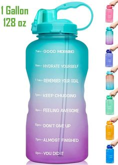 Water Bottle With Times, Water Bottle With Straw, Best Water Bottle, Water Bottles, 1 Gallon Water Bottle, Gallon Water Challenge, Water Bottle Challenge, Filtered Water Bottle, Home
