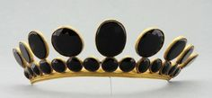 Queen Hedvig Elisabeth Charlotte's Mourning Tiara, Sweden (ca. 1818; onyx, silver). Now in the Nordic Museum. Worn while in mourning for husband King Charles XIII.