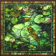 American stained glass window, signed : Lot 312