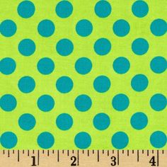 Michael Miller Ta Dot Calypso from @fabricdotcom  Designed for Michael Miller Fabrics, this cotton print fabric is perfect for quilting, craft projects, apparel and home decor accents. Colors include turquoise and lime. The polka dot measures about 1/2''.