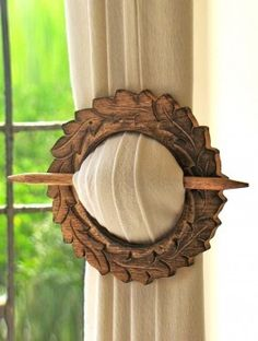 Wooden Curtain Holder - reminds me of a kilt/plaid pin. I love this, however, I would blunt the ends. Don't need any spearing themselves on the drapes. Curtain Holder, Curtain Tie Backs, Window Coverings, Window Treatments, Wood Projects, Projects To Try, Cool Stuff, Drapes Curtains, Drapery