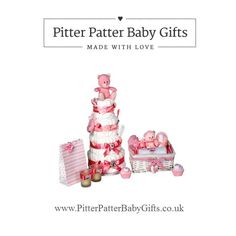 Nappy Cake baby shower centre piece. Only at www.PitterPatterBabyGifts.co.uk