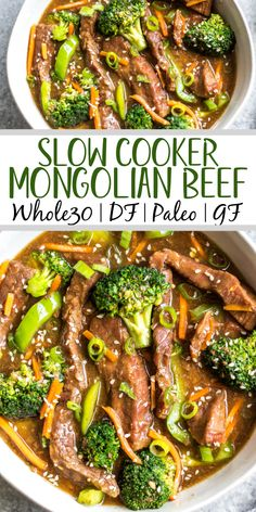 This easy slow cooker Mongolian beef is quick to throw into the crock pot, and is Whole30, Paleo, low carb and gluten-free. It only needs a handful of simple ingredients to make the sauce, along with flank steak, carrots, bell pepper and broccoli for the vegetables. This family friendly meal is perfect for dinner or for a healthy meal prep recipe! #whole30recipes #whole30beef #mongolianbeef #slowcooker #crockpot Slow Cooker Recipes, Paleo Recipes, Cooking Recipes, Steak Recipes, Easy Recipes, Healthy Meal Prep, Healthy Eating, Mongolian Beef, Whole 30 Recipes