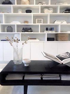 Black And White Interior, Shelving, Living Room, Closet, Home Decor, Shelves, Armoire, Decoration Home, Room Decor