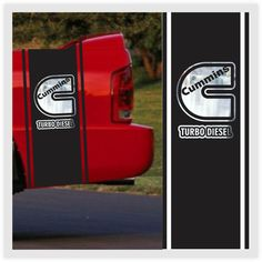 2 Dodge Ram Truck Stripes with with Cummins CHROME logo Bedside Vinyl Decal Custom Stickers Left/Right