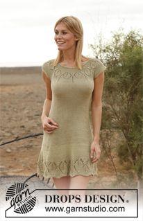 "DROPS kjole i ""Muskat"" med rundfelt bærestk og hullmønster. Str S – XXXL ~ DROPS Design"