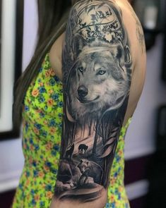 60 Amazing Wolf Tattoos - The Best You'll Ever See - Page 6 of 6 - Straight Blasted Wolf Tattoo Shoulder, Wolf Tattoo Back, Small Wolf Tattoo, Wolf Pack Tattoo, Wolf Tattoos For Women, Tattoos For Women Half Sleeve, Wolf Sleeve, Wolf Tattoo Sleeve, Wolf Tattoo Design