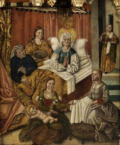 File:Fernando Gallego (attr) Birth of Mary. 15th Century Dress, 16th Century, Medieval Bed, Renaissance, Spanish Woman, Spanish Fashion, Spain And Portugal, France, Moorish