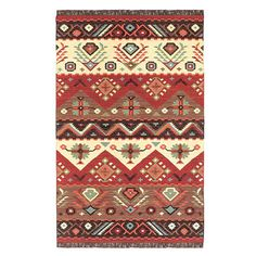 Wool flatweave rug with a Southwestern-inspired motif. Handmade in India.   Product: RugConstruction Material: W...