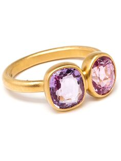 spinel & amethyst princess duet ring