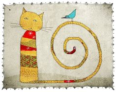 CAT~~Print of an illustration hand drawn in ink by the artist and painted with digital color by aliette on Etsy, $25.00