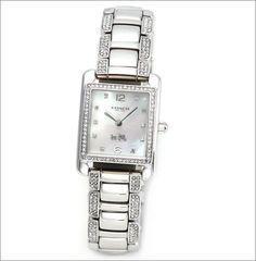 Shiny graceful watch --> Coach Women's Watch PAGE SILVER Bracelet MOP Dial Swarovski 14502018 #Coach #Dress #Watch #Fashion $179.77