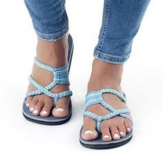 Plus Size High Quality Knitted Fabric Flip Flops Cute Beach Slippers Rope Sandals, Flat Sandals, Sexy Sandals, Cocktail Bleu, Fabric Flip Flops, Flip Flops Damen, Beach Flip Flops, Summer Knitting, Blue Heels