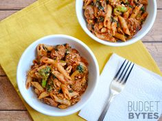 Penne Pasta with Sausage and Greens - BudgetBytes.com