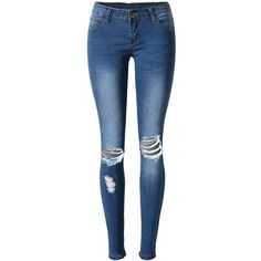 Ripped Light Wash Slim-Leg Mid-Rise Jean (8.620 HUF) ❤ liked on Polyvore featuring jeans, pants, bottoms, calças, blue ripped jeans, blue jeans, destructed jeans, slim fit ripped jeans and patch jeans