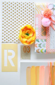 Pink, coral, gold / inspiration wall / mood board