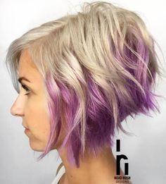Two-Tone Blonde And Lavender Bob Purple Peekaboo Highlights, Peekaboo Hair Colors, Hair Color Purple, Hair Highlights, Curly Hair Styles, Natural Hair Styles, Natural Beauty, Short Wavy Hair, Short Bob Hairstyles