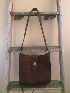 Vintage Leather Two Bar West Handbag With Turquoise