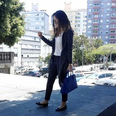 Blue and white. Outfit