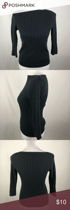 "Chaps Ralph Lauren black small cable knit sweater Slightly faded. No flaws. Chest 13"" length: 21.5"", Sleeve 17"" approximate measurements. Smoke free/pet friendly home. Make sure to check out my other listings, thanks for looking! Chaps Sweaters Crew & Scoop Necks"