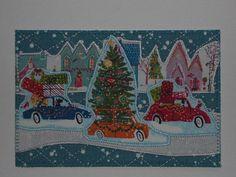 Holiday Houses Postcard Christmas Card Presents Tree Him Her Child Friend Holiday Christmas Gift Hello Love Housewarming 4x6 fabric postcard
