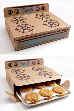 Saturday Mfg.'s design for Thelma's. Oven Shaped Box Design. http://www.saturdaymfg.com/  http://www.thelmastreats.com/   #Packaging #Paper