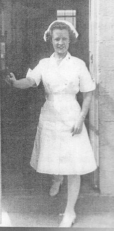 1940s-1950s nurse dress nurses uniform dress: pure by edgertor ~ Example of 40's nurse wearing the same style of uniform as shown in other posts.