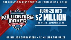 Football season will be here before you know it and the DFS industry is getting ready to kick off Week One in style! After the first week of DFS there will be three millionaires and two of them wil… Fantasy Golf, Promotion, Football Signs, Game Start, Thing 1, T Play, Fantasy Football, See On Tv, Fans