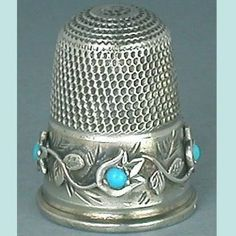 Antique English Sterling Silver & Turquoise Tulips Thimble
