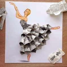 Armenian Fashion Illustrator Creates Stunning Dresses From Everyday Objects Pics) Edgar Artis fashion sketch art newspaper dress.Armenian fashion illustrator Edgar Artis creates gorgeous dress designs with everyday objects he finds at home. Fashion Design Drawings, Fashion Sketches, Drawing Fashion, Fashion Illustrations, Collage Illustrations, Fashion Illustration Dresses, Fashion Illustration Collage, Dress Illustration, Illustration Artists