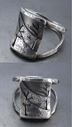 "Ring by Beth Millner. ""Northern Slope""  Sterling silver and patina."