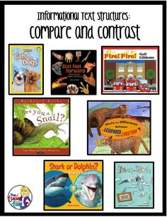 Mentor texts for informational text structures: Compare and Contrast, plus lots of ideas to help you teach informational text structures in the classroom. Reading Lessons, Reading Strategies, Reading Skills, Teaching Reading, Reading Comprehension, Guided Reading, Teaching Ideas, Comprehension Strategies, Learning