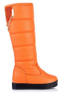 ROMWE | Chain Studed Striped Orange Boots, The Latest Street Fashion