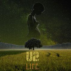 """Caratula/composición de un  disco ficticio de U2 cuyo nucleo central es el término y significado de """"Life""""(vida)"""