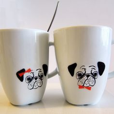 stamp diy mugs, cute dog design