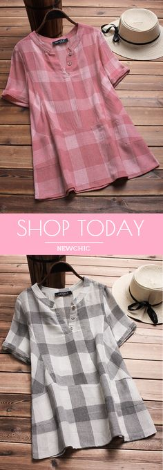 Vintage Plaid V-neck Short Sleeve Loose Shirts look not only special, but also they always show ladies' glamour perfectly and bring surprise. Casual Work Outfits, Trendy Outfits, Casual Dresses, Cool Outfits, Kurtha Designs, Plus Size Formal, Plus Size Vintage, Loose Shirts, Chic Dress