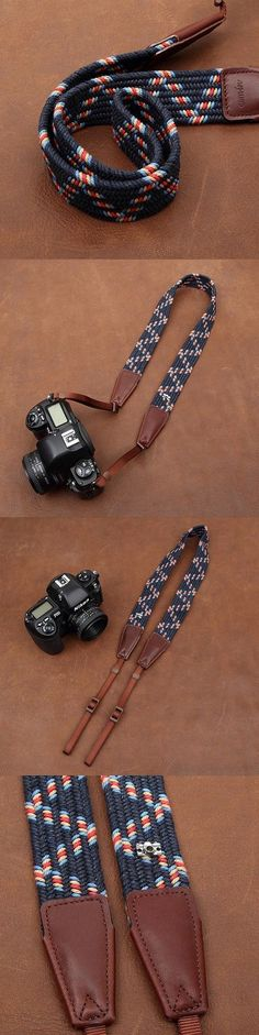 Weaving Style DSLR Deep Blue Sony Nikon Canon Handmade Leather Camera Strap 8792 by i-cam
