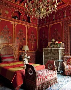 """Pierre Berge's bedroom designed by Bill Willis at Villa Oasis, Morocco. Stanford White would have pleased; he once told a client that they could have a bedroom in any colour as """"long as it's red""""."""