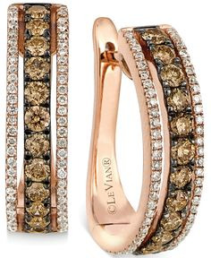 Le Vian Chocolate Diamonds® and Vanilla Diamonds® Hoop Earrings in 14k Strawberry Gold®  Le Vian Chocolatier - Jewelry & Watches - Macy's