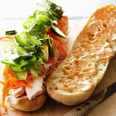 Sriracha and soy sauce give this sandwich big Asian flavor! More healthy chicken recipes: http://www.bhg.com/recipes/healthy/dinner/healthy-chicken-recipes/?socsrc=bhgpin072813chickenbanhmi=10