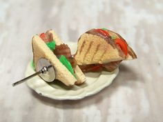 Miniature Food Earrings Food Jewelry BLT Bacon Lettuce Tomato Sandwich - product images  of