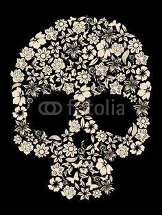 flowers ornated human skull vector