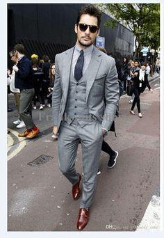 0196ee33ec5 Mens Light Grey Suits Jacket Pants Formal Dress Men Suit Set men wedding  suits groom tuxedos(jacket+pants+vest+tie))