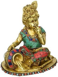 CraftVatika Hand Carved Baby Krishna Brass Idol Sculpture Butter Thief Krishna statue