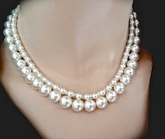Chunky Pearl necklace  Brides necklace  by QueenMeJewelryLLC
