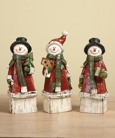 Take a look at this Gift Bearing Snowman Figurine Set by Transpac Imports on #zulily today!