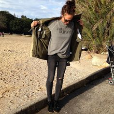 Military jacket, #wodnut sweatshirt and skinny jeans would look fab
