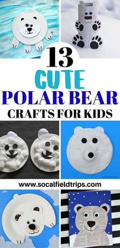 Your kids are going to love learning all about the arctic and polar bears when they work on these crafts!  Yes, using your imagination is part of the learning process, but there is so much more you can teach them.  These 13 cute polar bear crafts for kids are a wonderful way to open the doors to various conversations about this amazing bear. Click here to learn more! | Winter Crafts for Kids #articanimals #animal #animals #northpole #wintercraft #wintercrafts #polarbearcraft