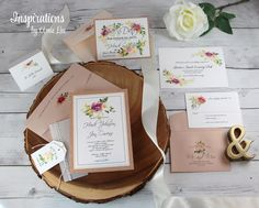 Rose Gold Wedding Invitations and Accessories Garden Wedding Invitations, Unique Invitations, Mailing Envelopes, Addressing Envelopes, Boho Wedding, Just For You, Place Card Holders, Rose Gold, Romantic