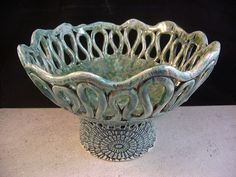 Ceramics, Art Pottery, Coil Pot, Home Decor, Turquoise Green, Candleholder, Candy Bowl, Fruit Bowl, Centerpiece, Planter, Footed Tray. $100.00, via Etsy.
